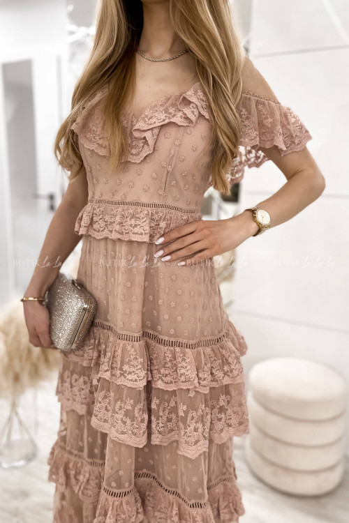 Sukienka koronkowa z falbankami pudrowa Vienna