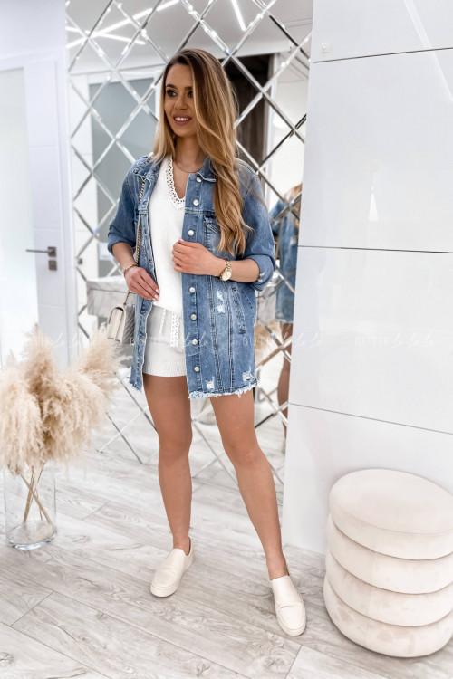 Kurtka jeans blue przedłużana Arletta 3
