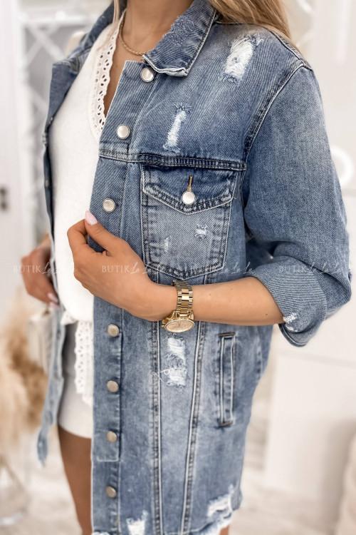 Kurtka jeans blue przedłużana Arletta
