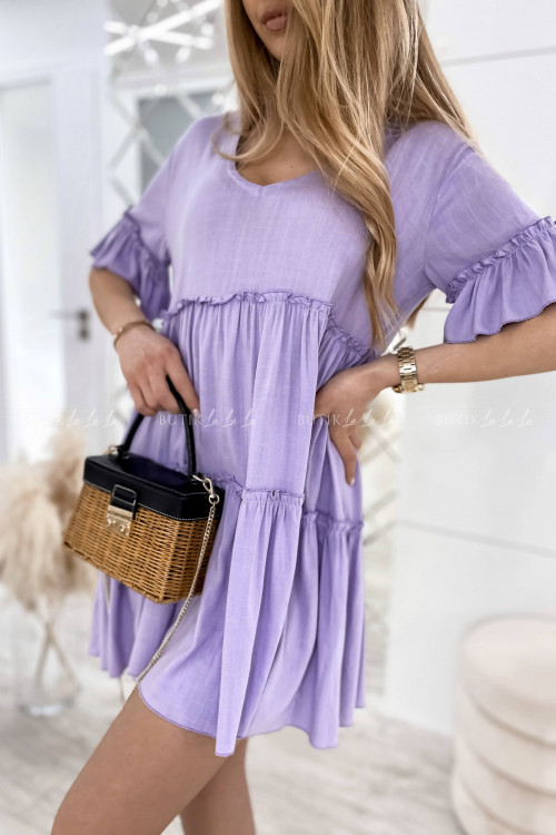 sukienka letnia mini boho z luźnym rękawem fioletowa Velu