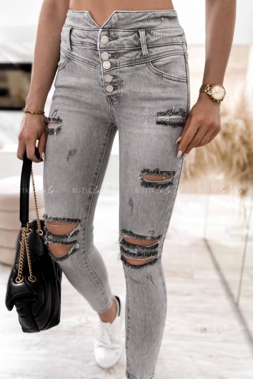 spodnie szare z guzikami i przetarciami Anti