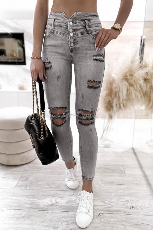 spodnie szare z guzikami i przetarciami Anti 2