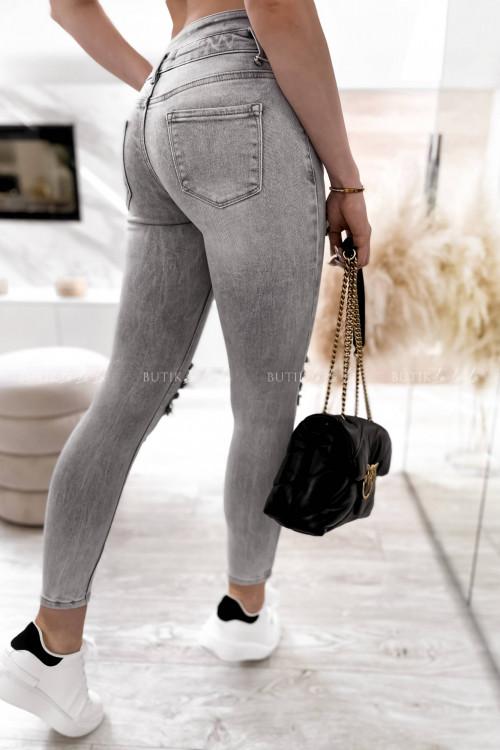 spodnie szare z guzikami i przetarciami Anti 1
