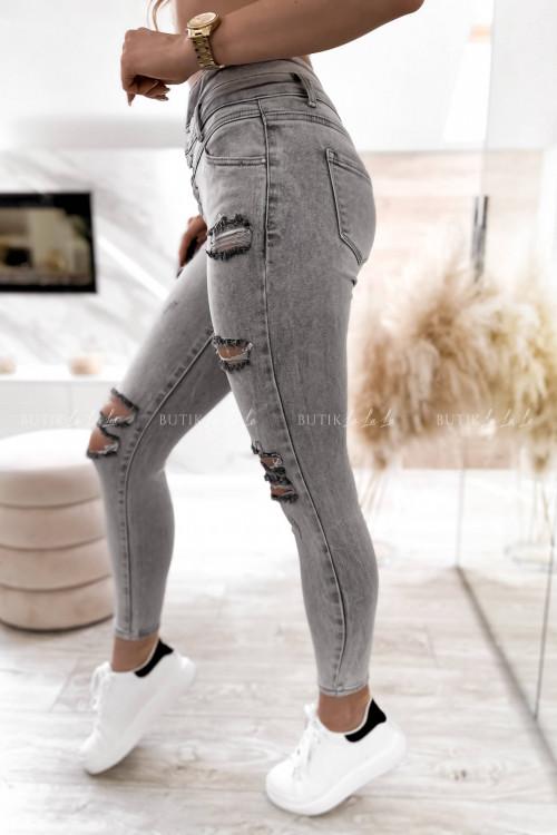 spodnie szare z guzikami i przetarciami Anti 3