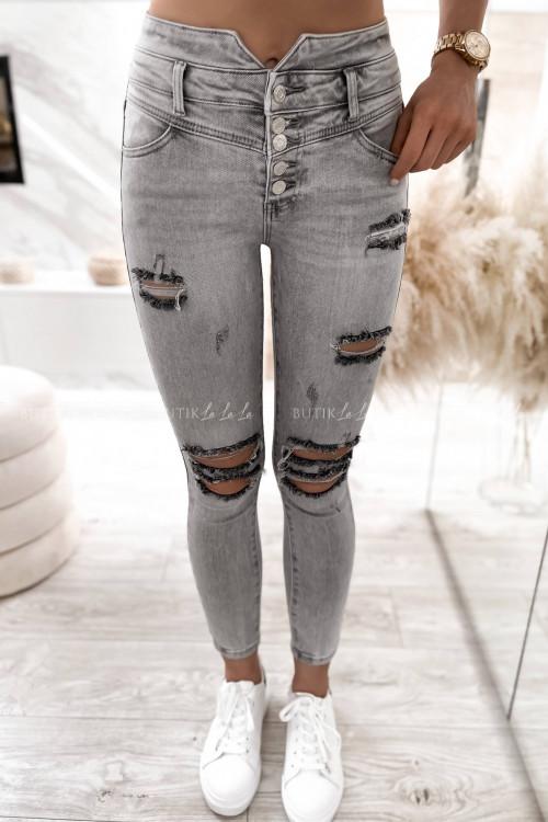 spodnie szare z guzikami i przetarciami Anti 4