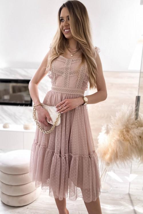 sukienka beżowa z koronkową góra i tiulowym dołem Lacoma