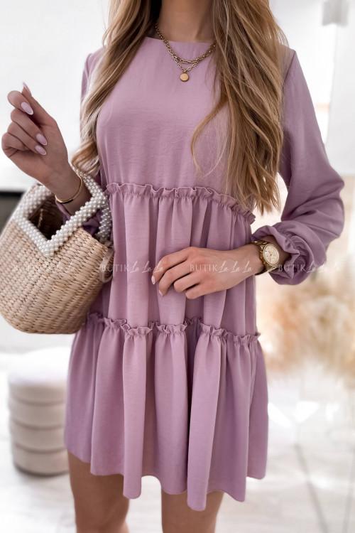 sukienka wrzosowa z falbankami Isleen 2