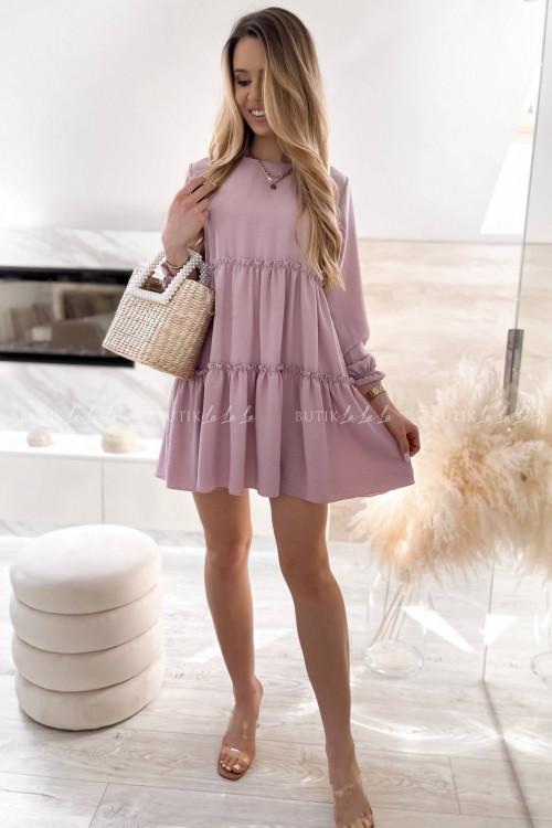 sukienka wrzosowa z falbankami Isleen 1