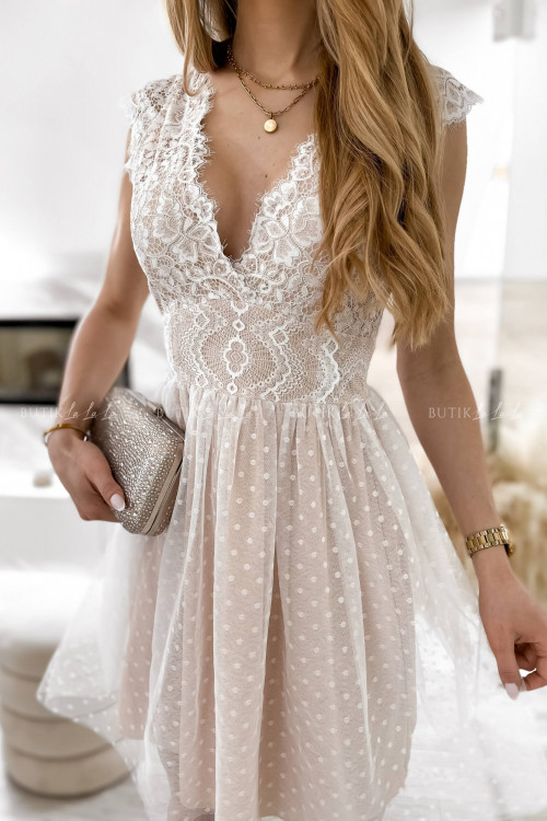 sukienka z koronkowa góra i tiulowym dołem biało-beżowa Servio 4