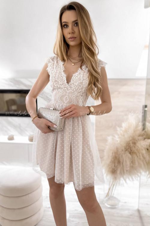 sukienka z koronkowa góra i tiulowym dołem biało-beżowa Servio 5