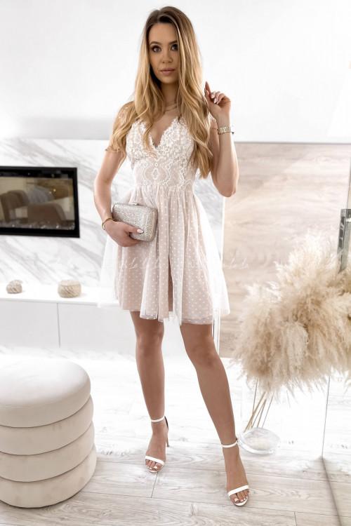 sukienka z koronkowa góra i tiulowym dołem biało-beżowa Servio 6