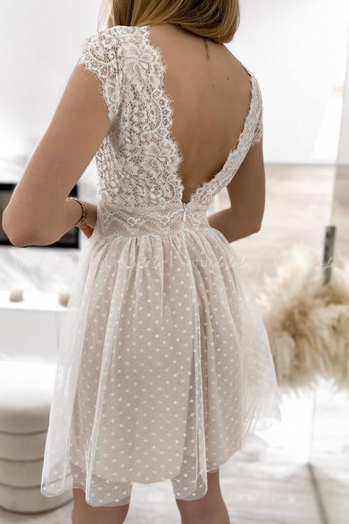 sukienka z koronkowa góra i tiulowym dołem biało-beżowa Servio 8