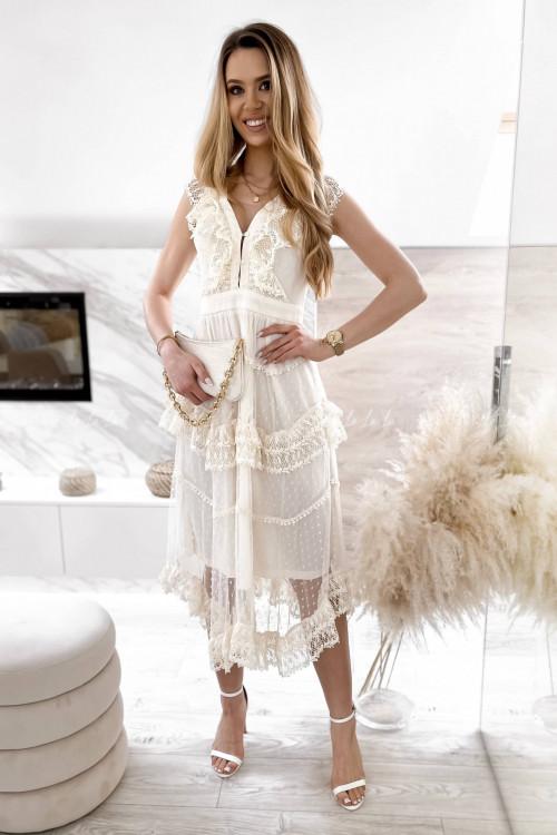 Sukienka maxi tiulowo-koronkowa kremowa Lily