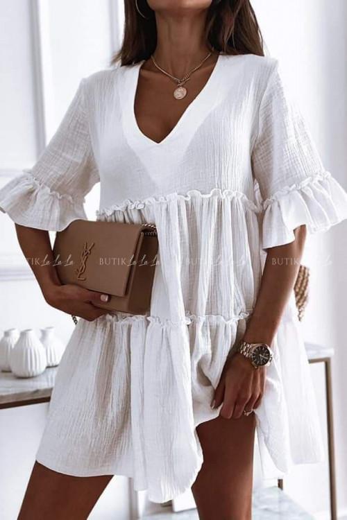 sukienka biała z falbankami Lola