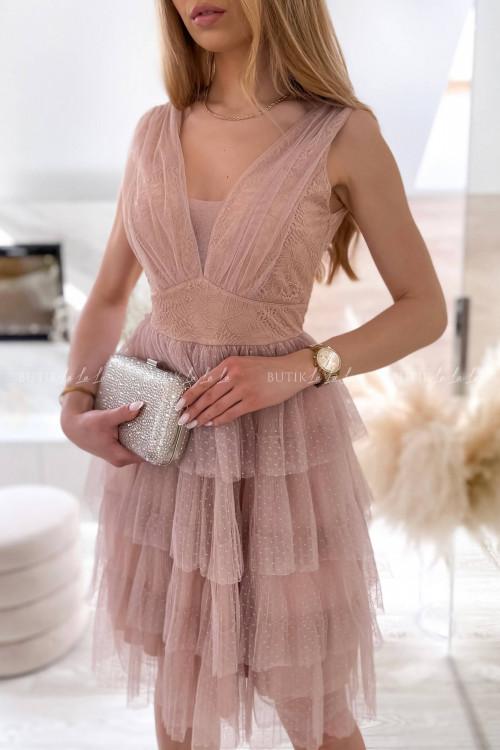 sukienka beżowo koronkowa Elle