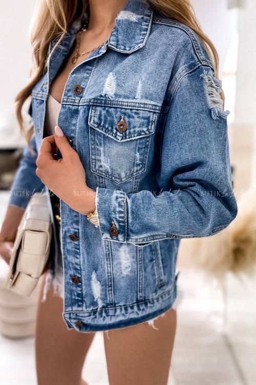 Kurtka jeans blue z przetarciami Rossa
