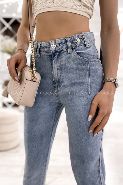 spodnie jeans blue z ozdobnymi guzikami Tessa