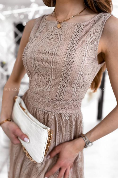 sukienka mini koronkowa pudrowa Soky