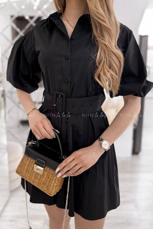 sukienka czarna z paskiem Larita