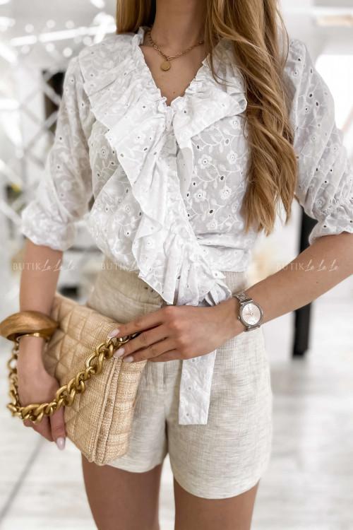 Koszula biała ażurowa wiązana Sandi