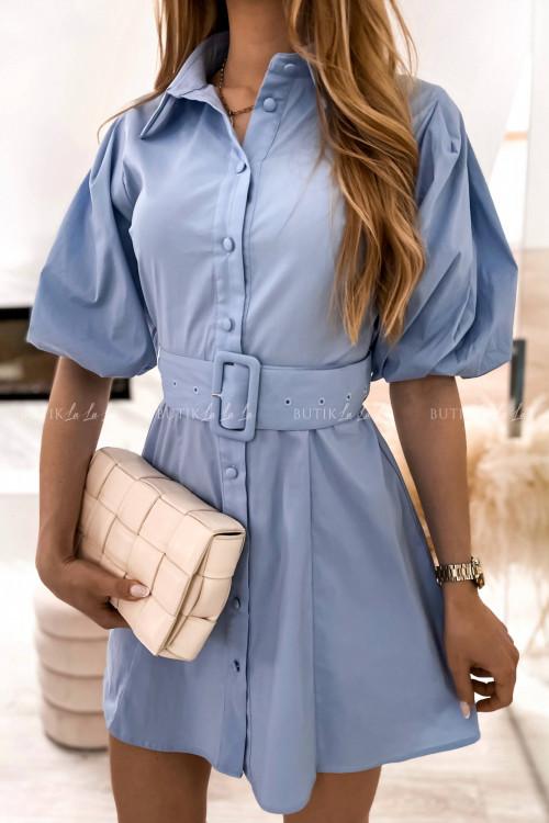 sukienka niebieska z paskiem Larita