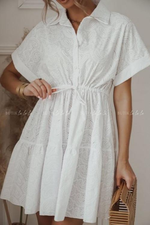 sukienka biała haftowana Tastoria