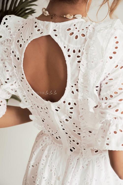 sukienka biała ażurowa Nicola