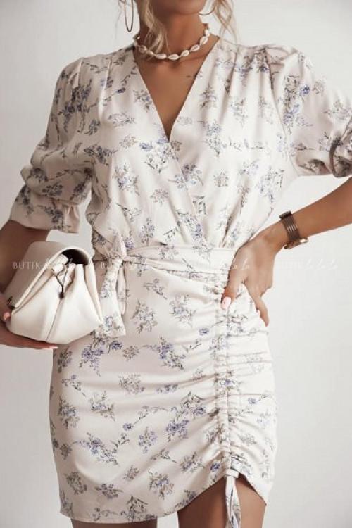 sukienka beżowa w kwiatowy print Violett