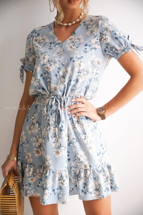 sukienka błękitna w kwiatuszki Sara