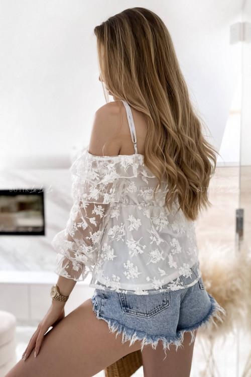 bluzka biała koronkowa hiszpanka Almeda