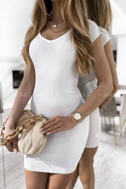 sukienka biała prążkowana Solette
